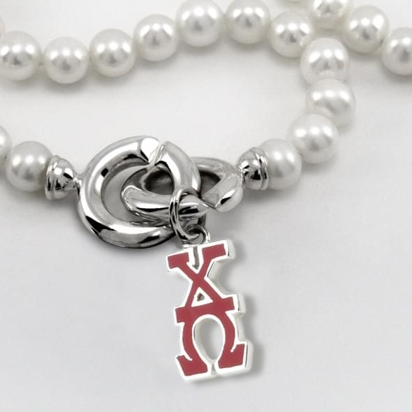 Chi Omega Pearl Necklace with Greek Letter Charm - Image 2
