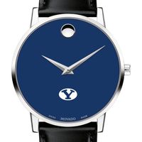 Brigham Young University Men's Movado Museum with Blue Dial & Leather Strap