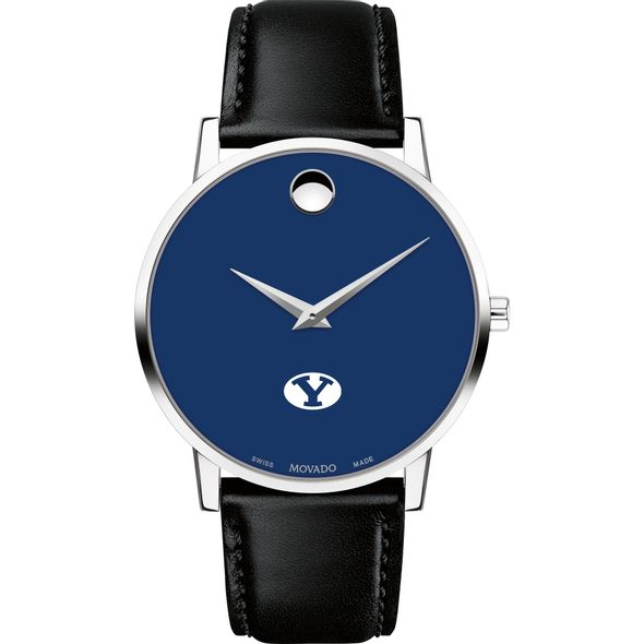 Brigham Young University Men's Movado Museum with Blue Dial & Leather Strap - Image 2