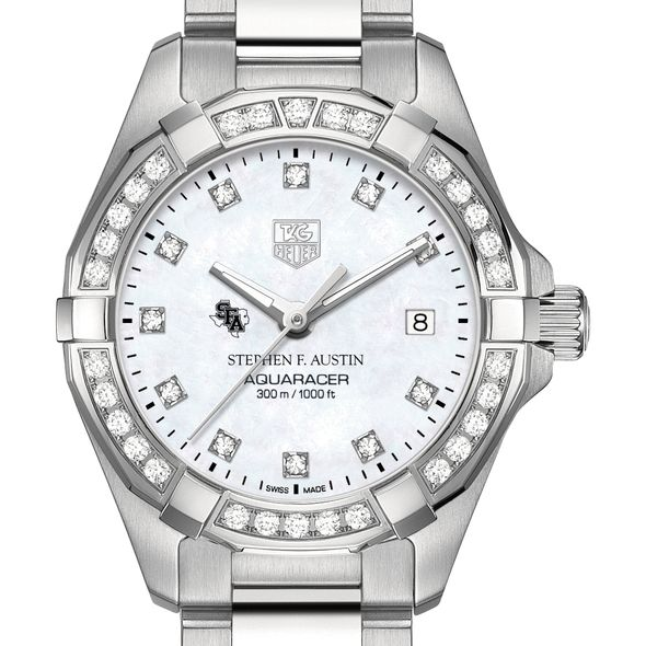 Stephen F. Austin State University Women's TAG Heuer Steel Aquaracer with MOP Diamond Dial & Bezel