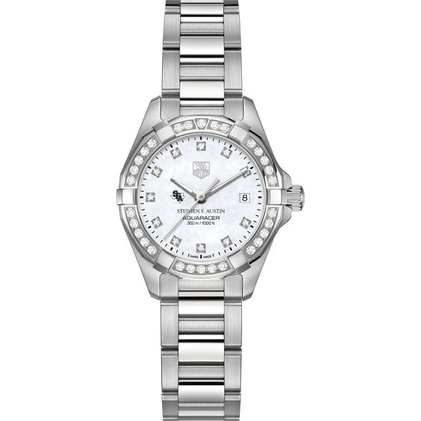 Stephen F. Austin State University Women's TAG Heuer Steel Aquaracer with MOP Diamond Dial & Bezel - Image 2