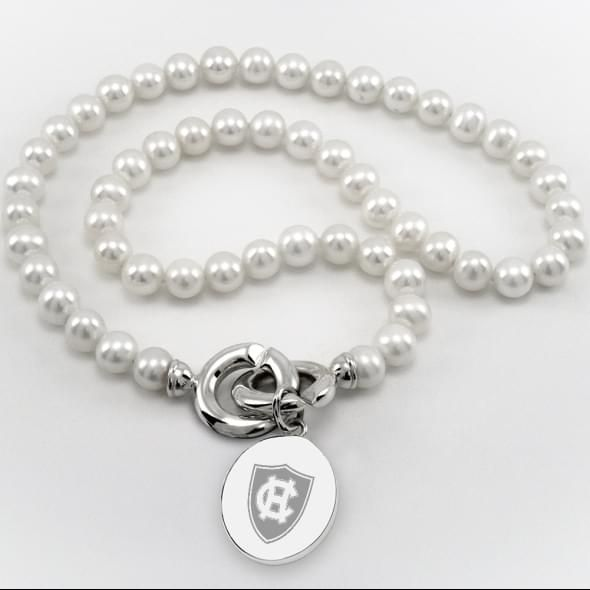 Holy Cross Pearl Necklace with Sterling Silver Charm