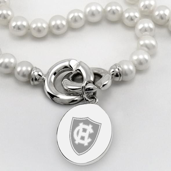 Holy Cross Pearl Necklace with Sterling Silver Charm - Image 2