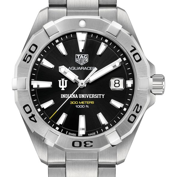 Indiana University Men's TAG Heuer Steel Aquaracer with Black Dial - Image 1