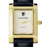 Carnegie Mellon University Women's Gold Quad with Leather Strap