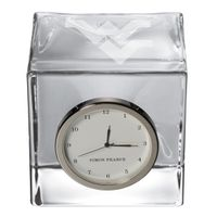 West Virginia University Glass Desk Clock by Simon Pearce