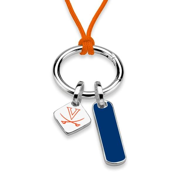 University of Virginia Silk Necklace with Enamel Charm & Sterling Silver Tag