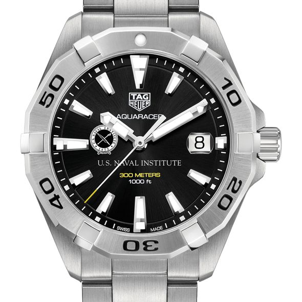 U.S. Naval Institute Men's TAG Heuer Steel Aquaracer with Black Dial