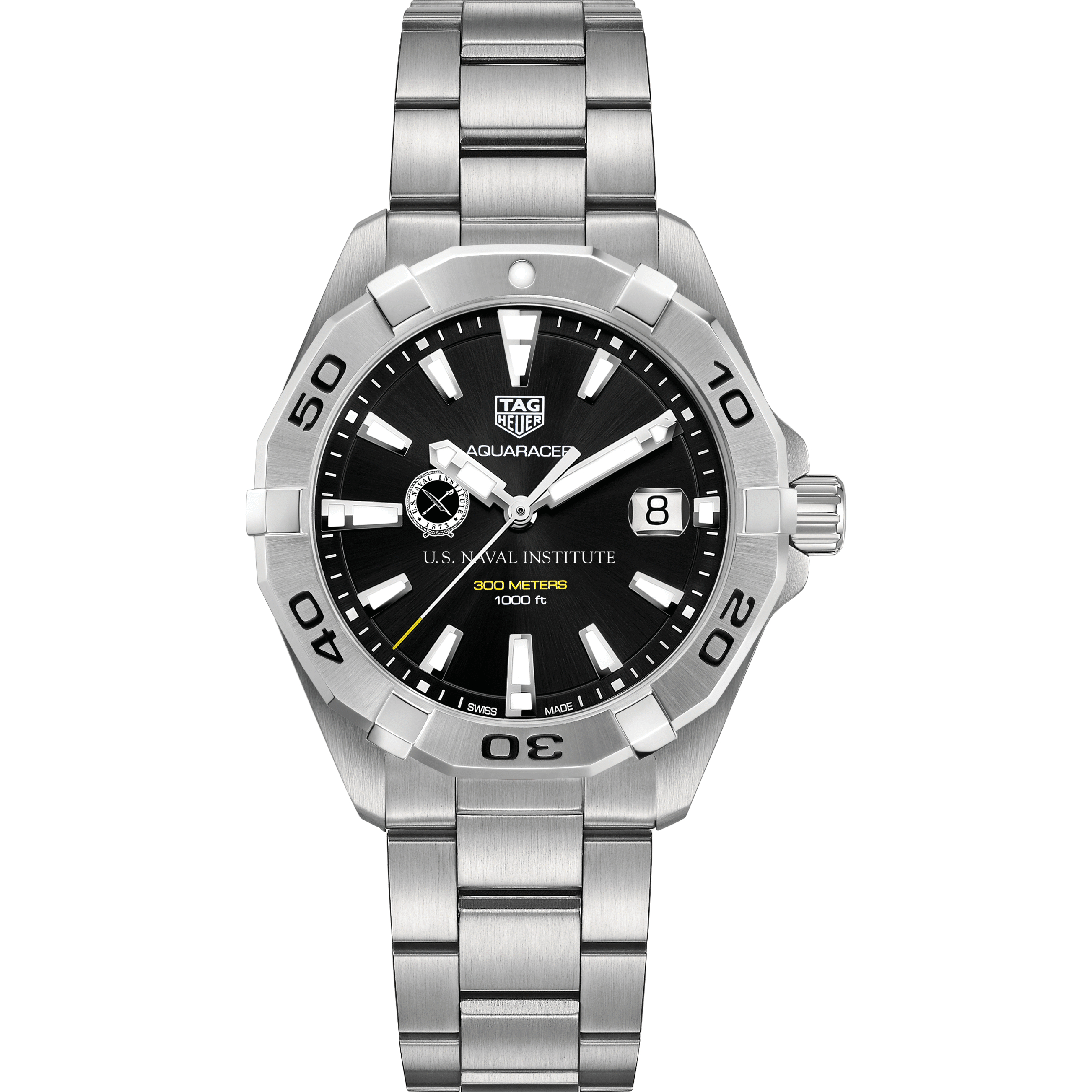US Naval Institute Men's TAG Heuer Steel Aquaracer with Black Dial - Image 2
