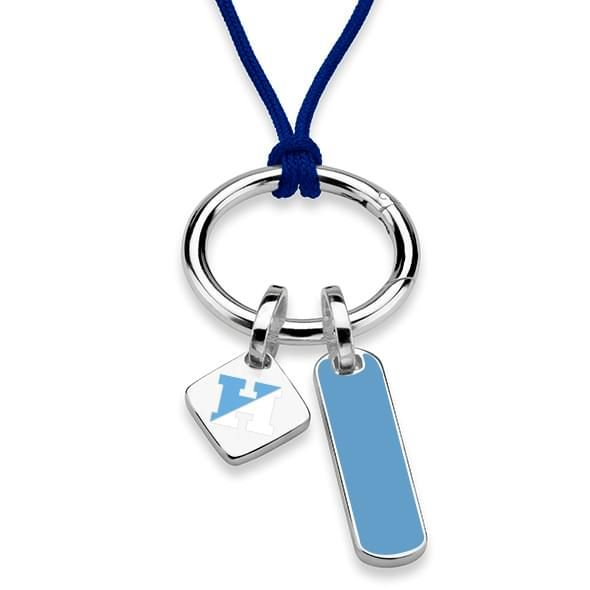Johns Hopkins University Silk Necklace with Enamel Charm & Sterling Silver Tag