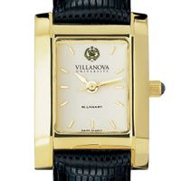 Villanova Women's Gold Quad Watch with Leather Strap