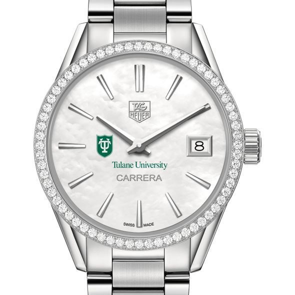 Tulane University Women's TAG Heuer Steel Carrera with MOP Dial & Diamond Bezel