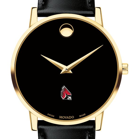 Ball State Men's Movado Gold Museum Classic Leather - Image 1