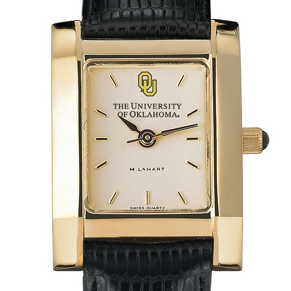 Oklahoma Women's Gold Quad Watch with Leather Strap