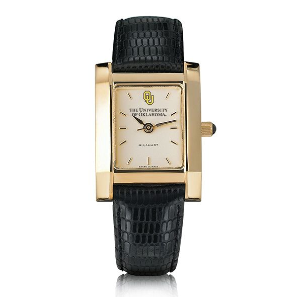 Oklahoma Women's Gold Quad Watch with Leather Strap - Image 2