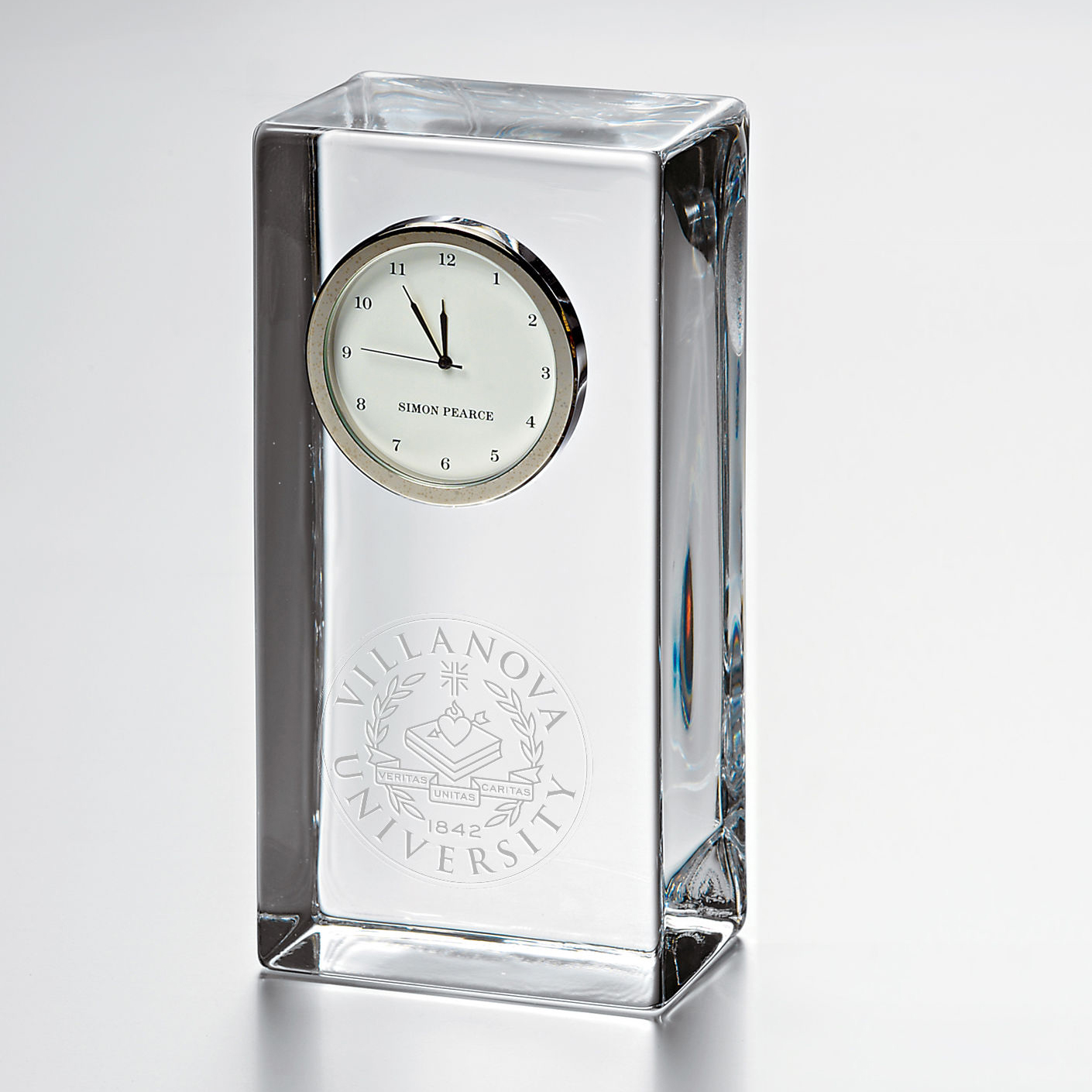 Villanova Tall Glass Desk Clock by Simon Pearce