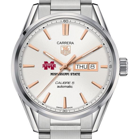Mississippi State Men's TAG Heuer Day/Date Carrera with Silver Dial & Bracelet