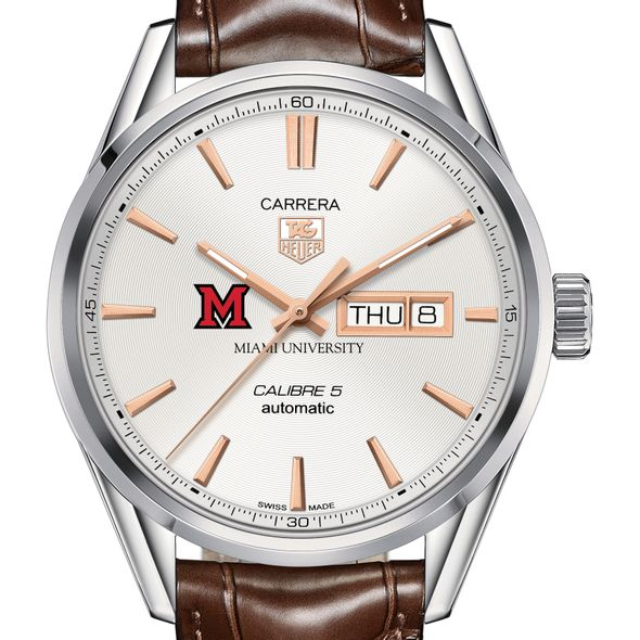Miami University Men's TAG Heuer Day/Date Carrera with Silver Dial & Strap