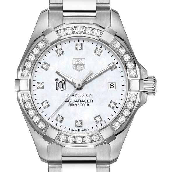 College of Charleston W's TAG Heuer Steel Aquaracer with MOP Dia Dial & Bezel - Image 1