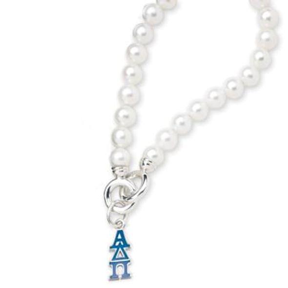 Alpha Delta Pi Pearl Bracelet with Greek Letter Charm