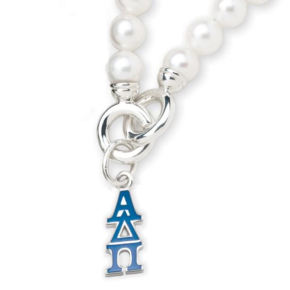Alpha Delta Pi Pearl Bracelet with Greek Letter Charm - Image 2