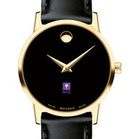 New York University Women's Movado Gold Museum Classic Leather