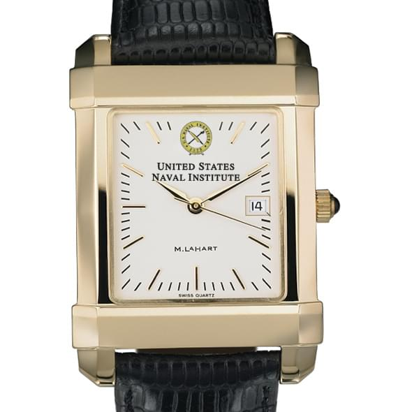 USNI Men's Gold Quad Watch with Leather Strap