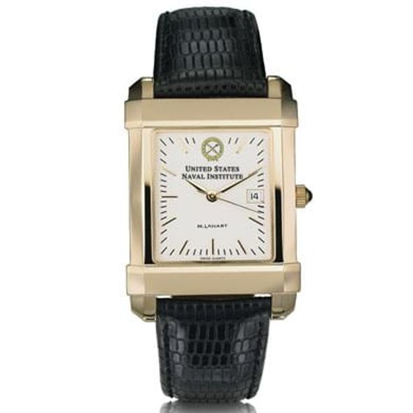 USNI Men's Gold Quad Watch with Leather Strap - Image 2