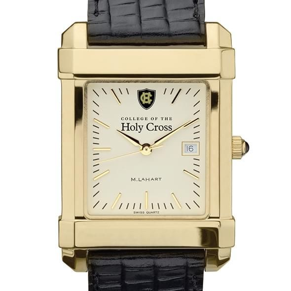 Holy Cross Men's Gold Quad Watch with Leather Strap