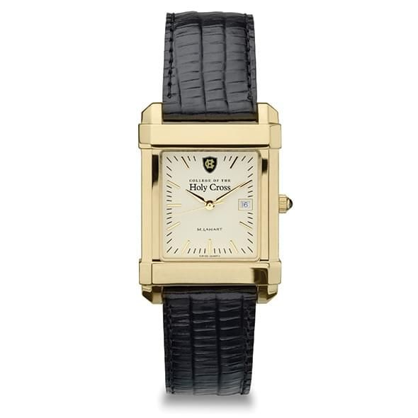 Holy Cross Men's Gold Quad Watch with Leather Strap - Image 2