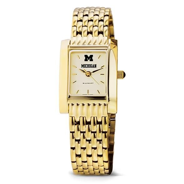 Michigan Women's Gold Quad Watch with Bracelet - Image 2