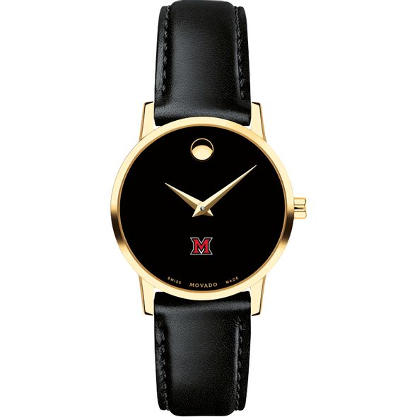Miami University Women's Movado Gold Museum Classic Leather - Image 2