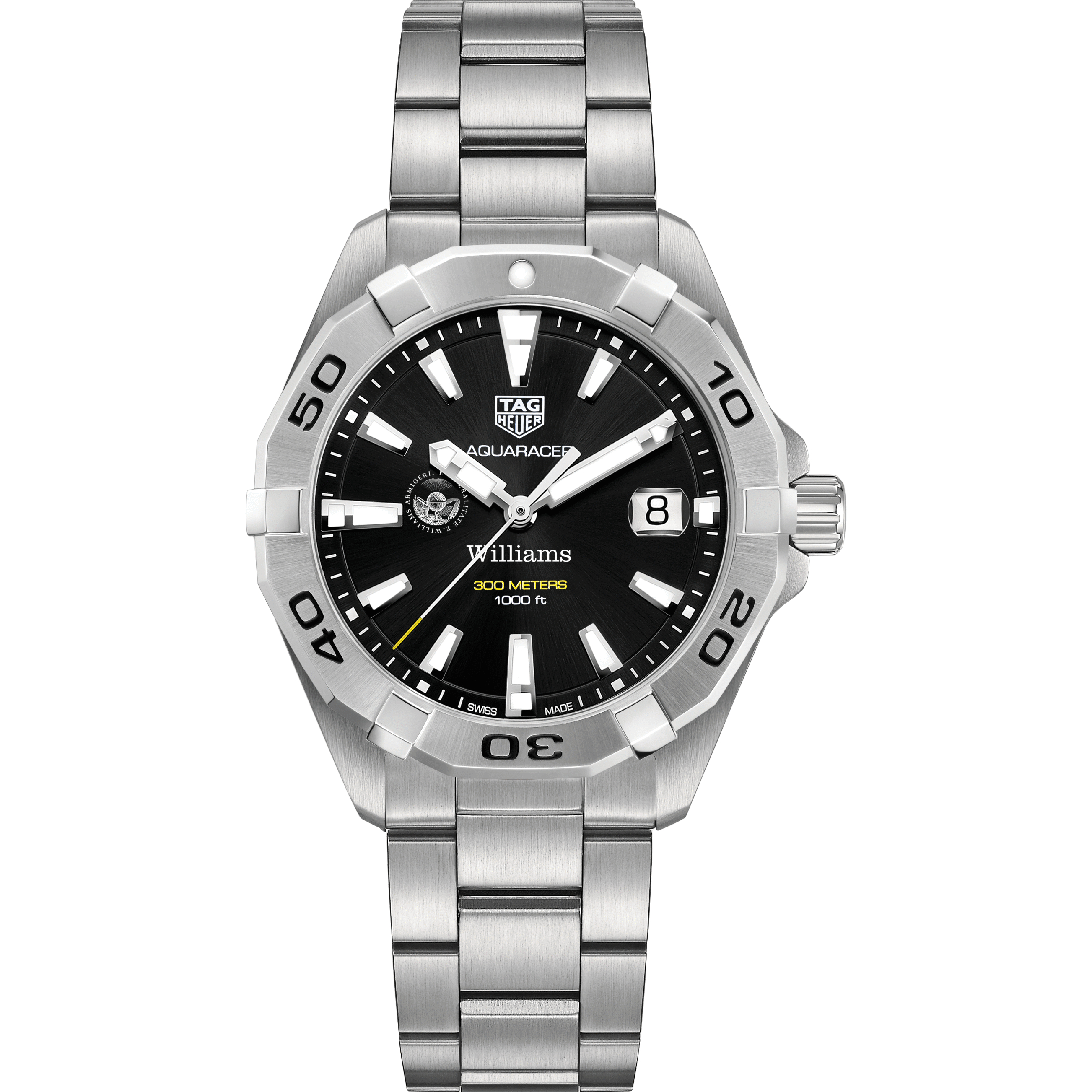 Williams College Men's TAG Heuer Steel Aquaracer with Black Dial - Image 2