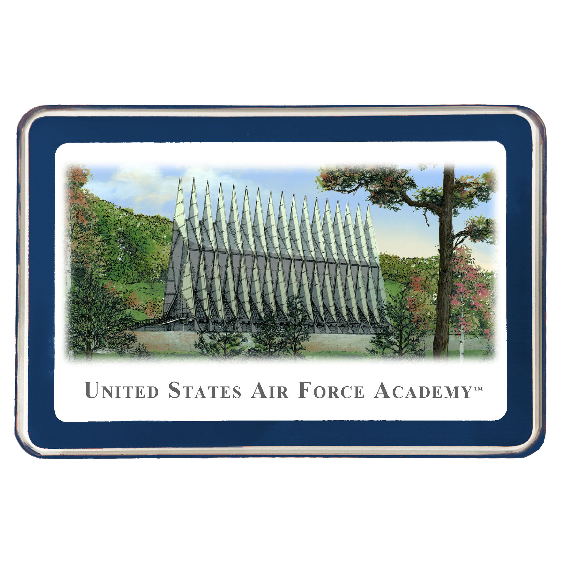 US Air Force Academy Eglomise Paperweight