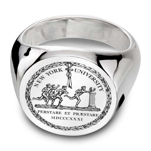 NYU Sterling Silver Round Signet Ring