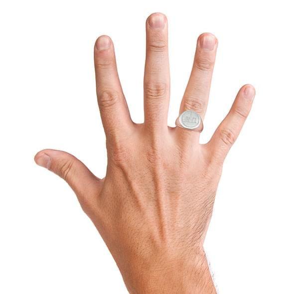 NYU Sterling Silver Round Signet Ring - Image 6