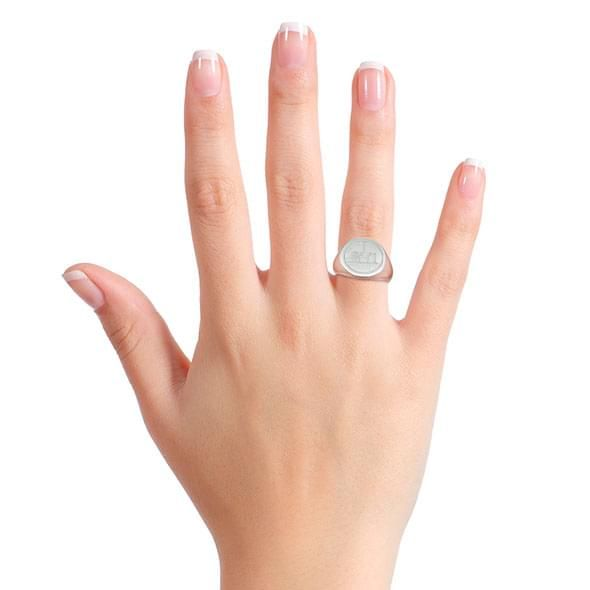 NYU Sterling Silver Round Signet Ring - Image 7