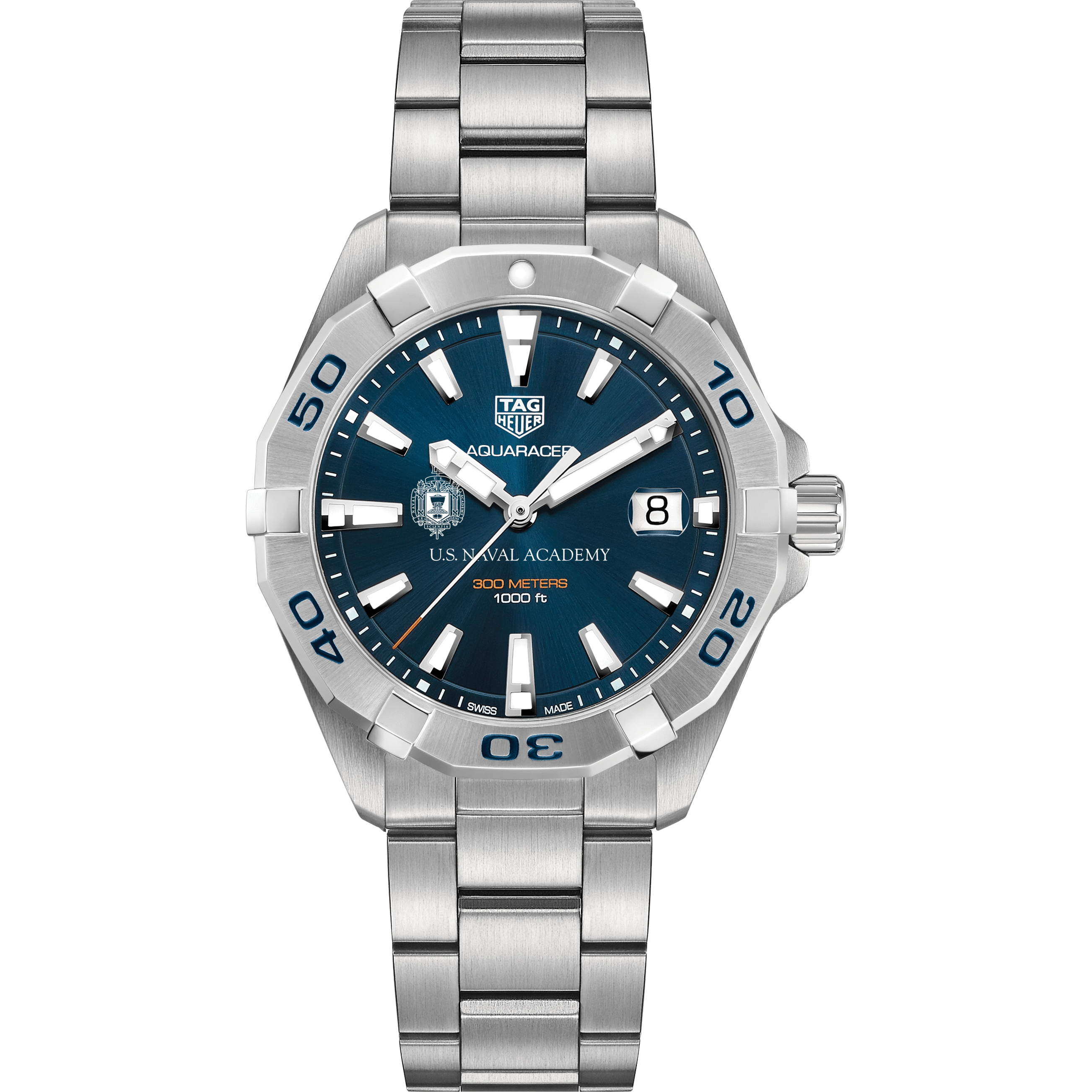 Naval Academy Men's TAG Heuer Steel Aquaracer with Blue Dial - Image 2