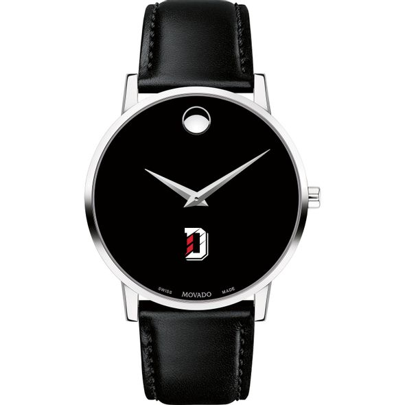 Davidson College Men's Movado Museum with Leather Strap - Image 2