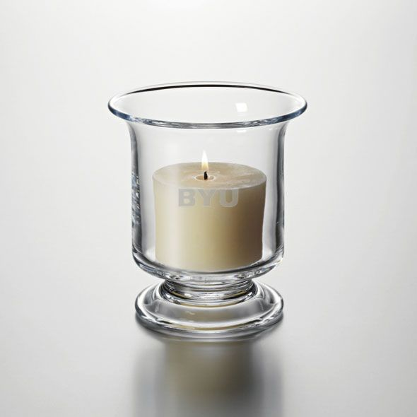 Brigham Young University Hurricane Candleholder by Simon Pearce