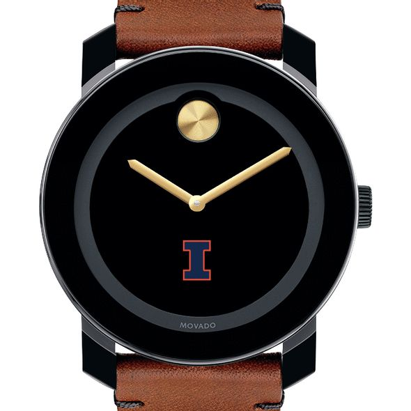 University of Illinois Men's Movado BOLD with Brown Leather Strap