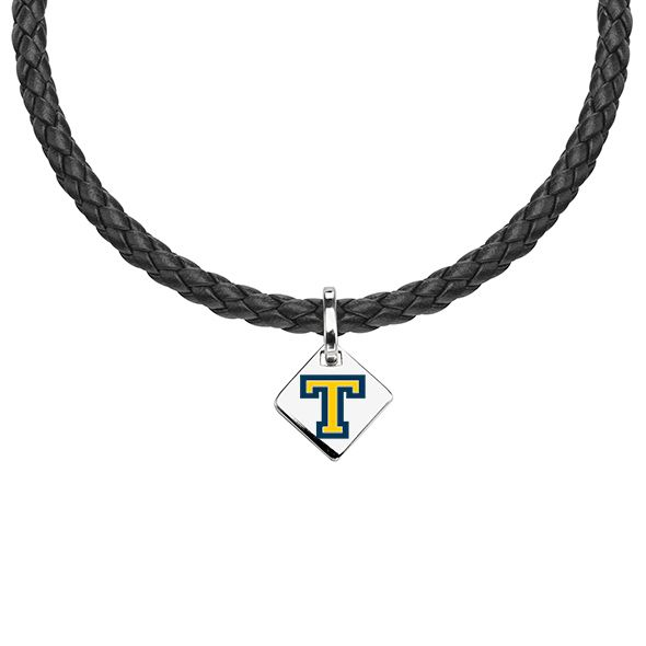 Trinity College Leather Necklace with Sterling Silver Tag
