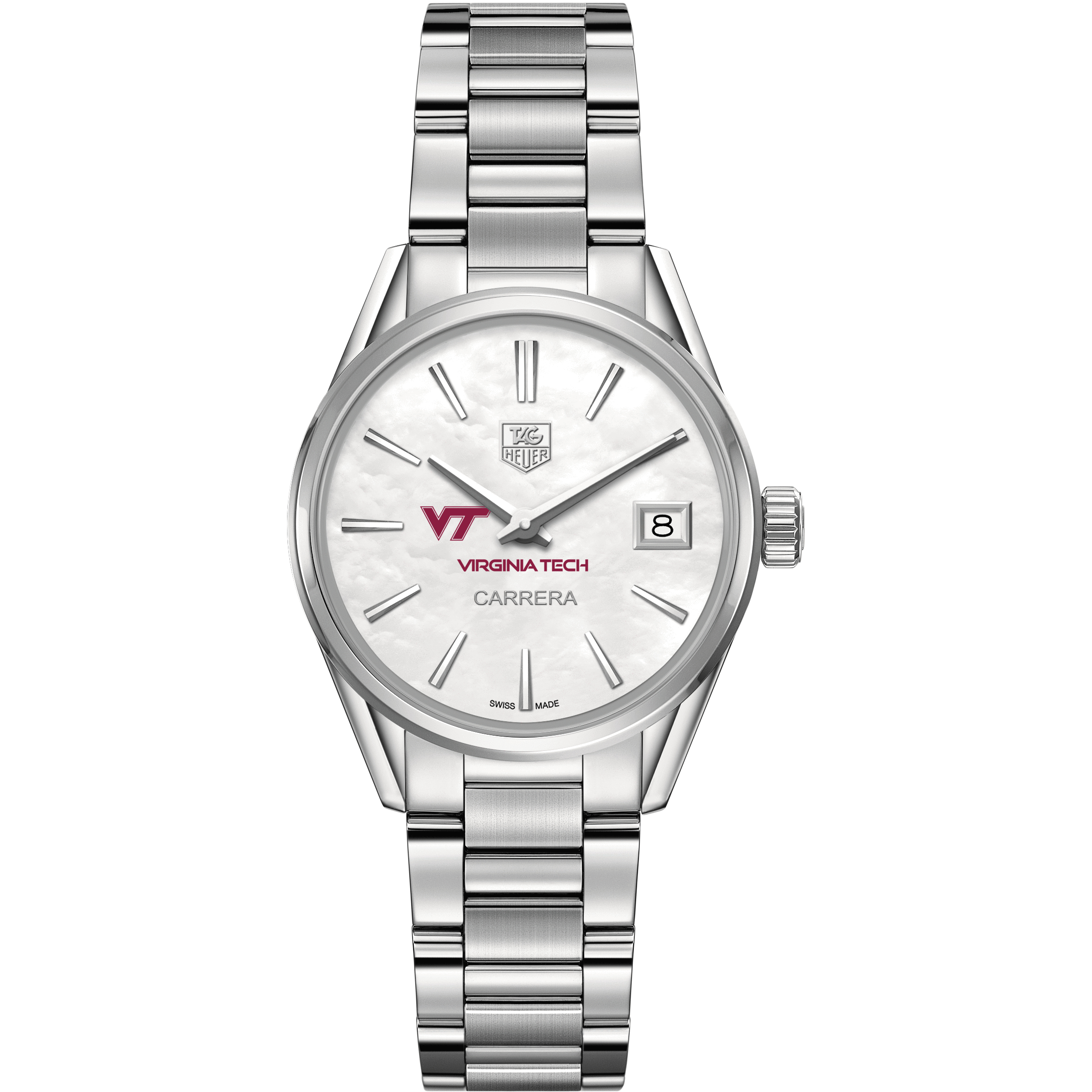 Virginia Tech Women's TAG Heuer Steel Carrera with MOP Dial - Image 2