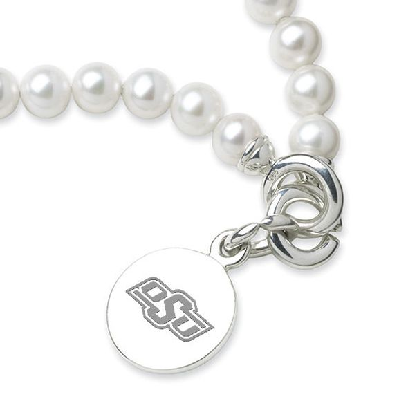 Oklahoma State University Pearl Bracelet with Sterling Silver Charm - Image 2