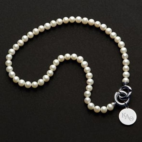 Kappa Alpha Theta Pearl Necklace with Sterling Silver Charm - Image 1