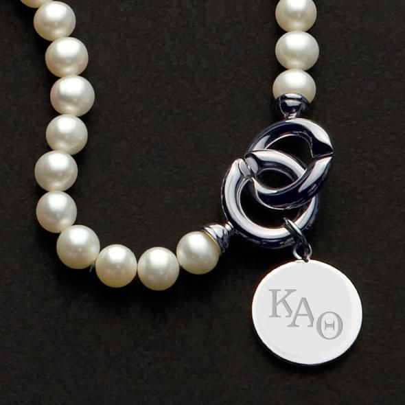 Kappa Alpha Theta Pearl Necklace with Sterling Silver Charm - Image 2