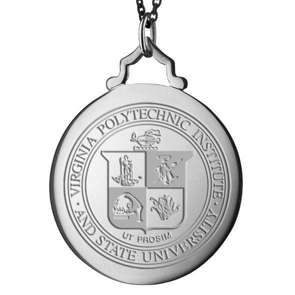 Virginia Tech Monica Rich Kosann Round Charm in Silver with Stone - Image 2