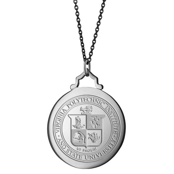 Virginia Tech Monica Rich Kosann Round Charm in Silver with Stone - Image 3