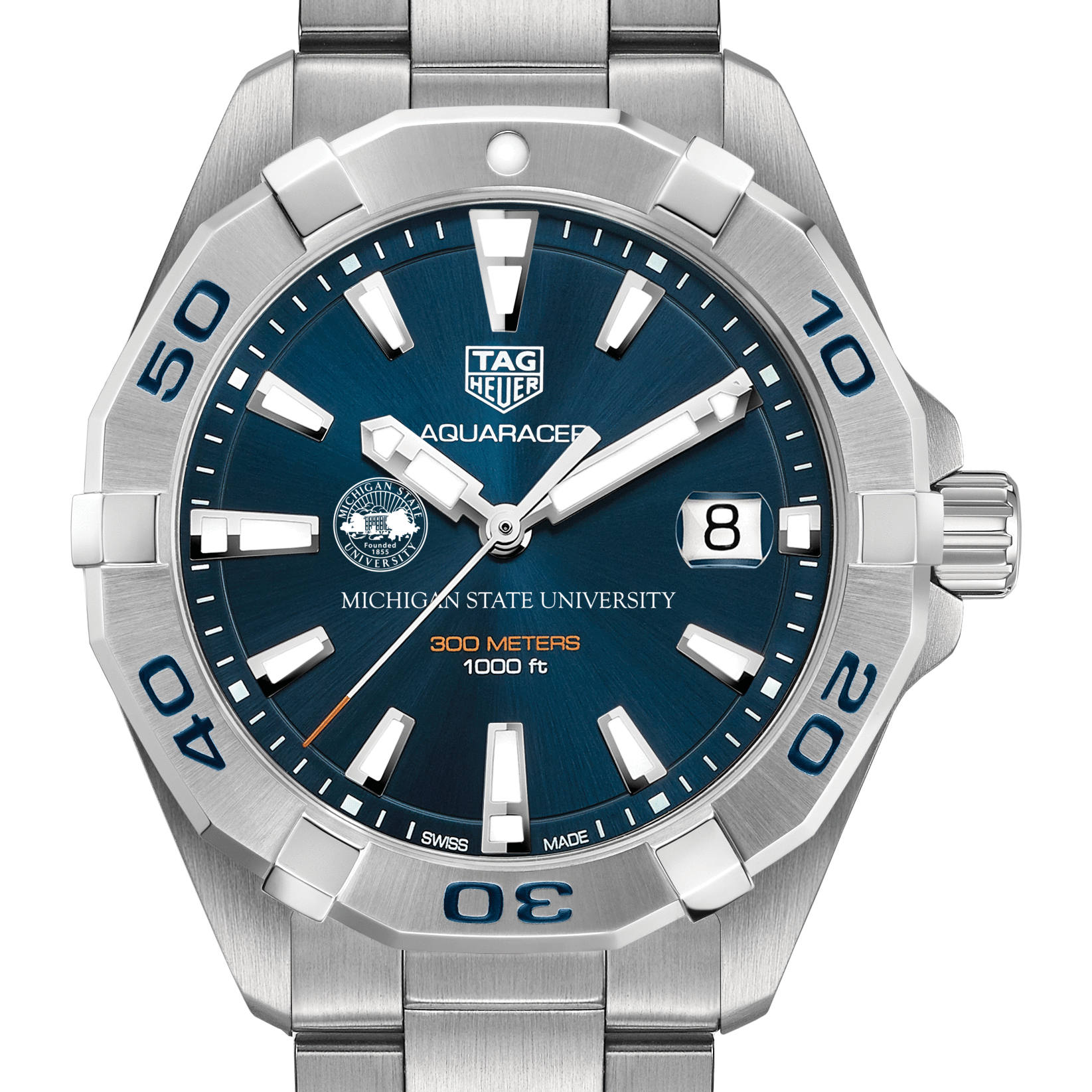 Michigan State Men's TAG Heuer Steel Aquaracer with Blue Dial