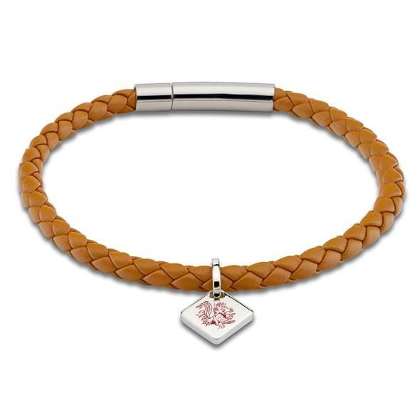 University of South Carolina Leather Bracelet with Sterling Silver Tag - Saddle